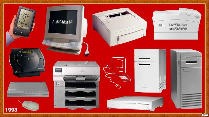 "1993 : Apple Newton ; AudioVision 14"" ; Personal LaserWriter 300/320 ; LW Select 300/310/360 : PowerCD, portable StyleWriter ; LW Pro 810 ; Workgroup Server 60/80/95"
