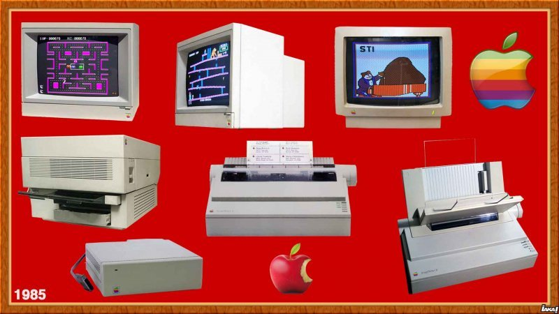 1985 ColorMonitor IIe/IIc - AppleColor Monitor - LaserWrite - ImageWriter II - Mac Hard Disk 20